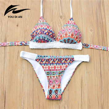 Retro National Style Spandex Crochet Patchwork Bikini Set Printed Women Swimsuit Beach Wear Maillot De Bain Femme Bathing Suits