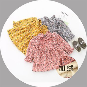 Autumn Winter Baby Girls Vintage Floral Print Long Sleeve Ruffles Collar Retro Dress Kids Infant Cute Clothes vestido infantil