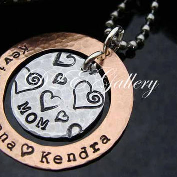 """D2E custom personalized engraved hammered hand stamped """"Mom"""" on aluminum and copper necklace on stainless steel ball chain"""