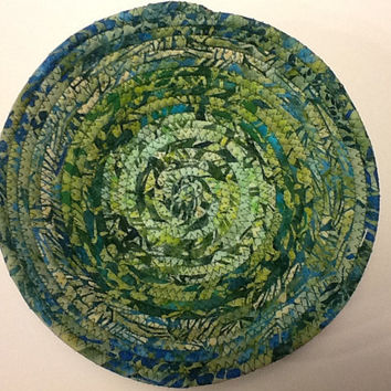 Green Batik Coiled Rope Bowl, Green Leaf Fabric Bowl