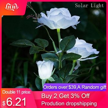 3 Head White Rose Flower Solar Light Led Decorative Outdoor Lawn Lamp Home Garden Fake Flower Night Lights Ip44 Waterproof Lamps