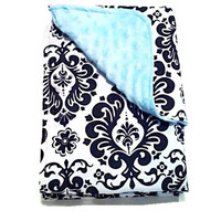 SALE: Baby Boy Ice Blue Blanket, Black Damask and Mint Ice Blue Minky by BizyBelle