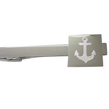 Silver Toned Etched Nautical Anchor Square Tie Clip