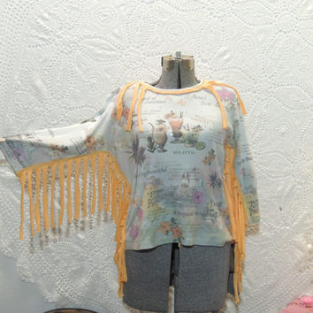 Upcycled Recycled Repurposed Clothing / Country Western Rustic Country Fringe Top / Hippie Eco Friendly T-shirt With Fringe / By Tattered FX