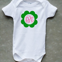 St. Patricks Day Personliazed Monogram Name Onesuit or Kid's T-Shirt - Two Color