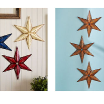Set of 3 Metal Wall Stars Americana Rustic 6 Point Steel Die Cut Country Home