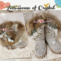 WINTER SheepSkin Fox Fur Wool Boots w shinning CRYSTALS and PEARLS - ZoeCrystal