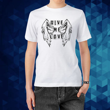 Give me love,angel wings costume,give me love lyrics,custom t shirt printing,customised t shirts,tee shirt design,print your own t shirt,me