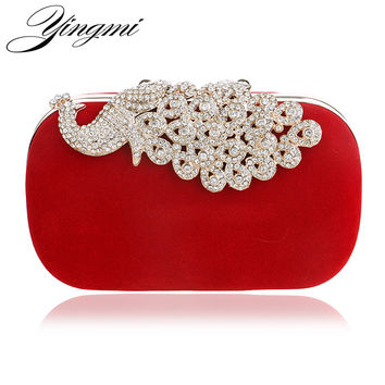 Luxury diamonds peacock women clutch bags velvet rhinestones evening bags for wedding bridal party wallet with chains