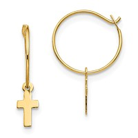 14k Yellow Gold Madi K. Endless Hoop with Small Cross Earrings