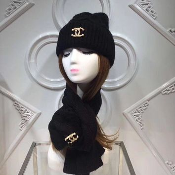 CHANEL Fashion Casual Women Beanies Winter Knit Hat Cap Cape Scarf Scarves Set Two-Piece G