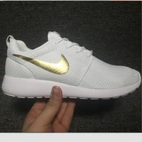 """NIKE"" Trending Fashion Casual Sports Shoes White Golden"