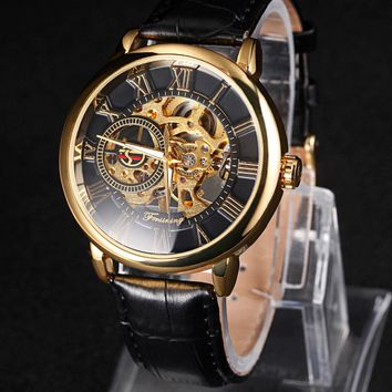 Men's Luxury Brand Mechanical Watch Skeleton Rome Dial Hand Wind Wristwatches NEW Design Hollow Engraving Leather Band Strap
