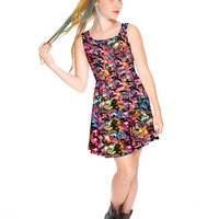 Girls Multi Holiday Lights Skater Dress