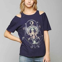 Truly Madly Deeply Cold-Shoulder Tee- Navy M