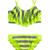 Stripe Flounce Bikini Swimsuit | Girls Bikinis Swimsuits | Shop Justice