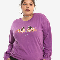 Purple Acid Wash Flaming Race Flags Girls Long-Sleeved T-Shirt Plus Size