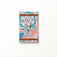 Spring Peach and Teal, Boho Style Light Switch Cover