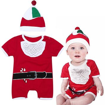 Newborn Christmas Clothes Baby Boys Girls Short Sleeve Santa Clause Romper+ Hat Outfits Kids Festival Party Costume