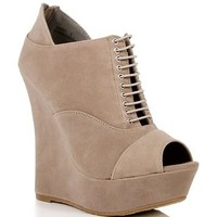 Taupe Peep Toe Wedge Booties