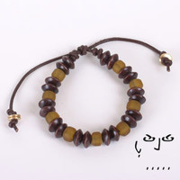 Amber Glass and Saucer Beads Bracelet