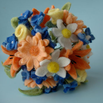 Alternative felt flower wedding bouquet with orange, yellow, white and blue wool flowers - day lily, gerbera daisy, rose with burlap