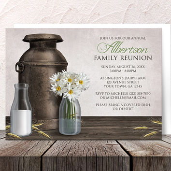 Dairy Farm Family Reunion Invitations Rustic - Country Antique Milk Can and Milk Bottles with Daisies - Printed Invitations