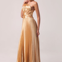 Golden One Shoulder Leaves Embellished  Pleated Maxi Evening Dress