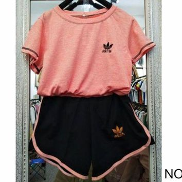 ac NOVQ2A ADIDAS summer sports women's loose breathable sweat-absorbent cotton leisure two-piece NO.2