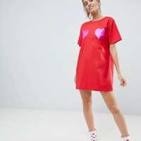 ASOS Foil Heart Sleep Tee at asos.com