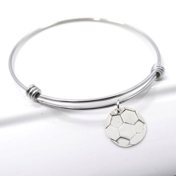 Soccer Mom Adjustable Bangle Bracelet Stacking Charm Bracelet