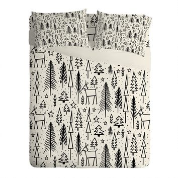 Heather Dutton Winter Wonderland White Sheet Set Lightweight