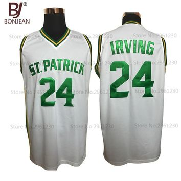 BONJEAN Cheap Kyrie Irving 24 St. Patrick High School White Basketball Jersey Throwback Sewn Shirt Any Size Free Shipping