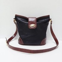 Black and Brown Rosetti  Faux Leather Shoulder Purse