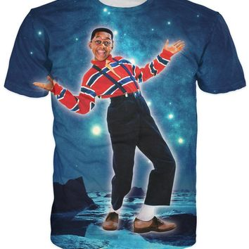 Urkel in Space T-Shirt hanging out in the cosmos Galaxy  Nebula 3d print women men cool tee summer style short sleeve  tops