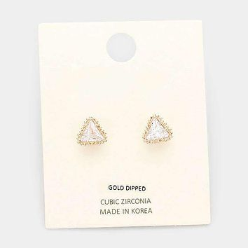 Gold Dipped Cubic Zirconia Triangle Stud Earrings