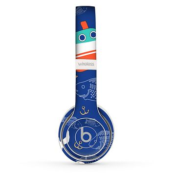The Blue Vector Fish and Boat Pattern Skin Set for the Beats by Dre Solo 2 Wireless Headphones