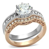 Rose Gold and Silver Stainless Steel Ornate Round Brilliant CZ Wedding Ring Set