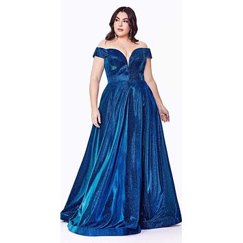Plus Size Off The Shoulder A-Line Gown Metallic Blue Glitter Lace Up Back