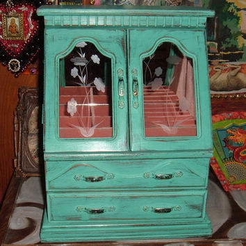 Turquoise Wood Jewelry Box, Upcycled, Lots of Storage, Music Box