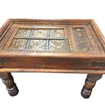 Solid Wood Handmade Traditional Coffee Table ANTIQUE Indian Furniture NEW RAJASTHAN | Mogul Interior