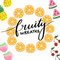 WATERCOLOR FRUITY WREATHS, hand-drawn wreaths, doodle clipart, floral wreaths, rustic, drawn wreaths, png,wedding, greeting card, watercolor