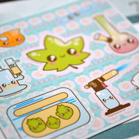 Cannabis Kawaii Planner Stickers - Kawaii Cannabis Leaf - Planner Accessories