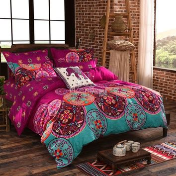 Wongsbedding Bohemian Duvet Covers 3PCS Cotton Comforter Bedding Sets Bedlinen Single/Double/Queen/King Size