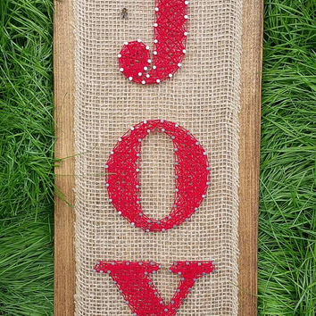 "Christmas ""JOY"" String Art Sign, Red and Brown Burlap Holiday Decor, Rustic Farmhouse Style Christmas Wall Hanging"