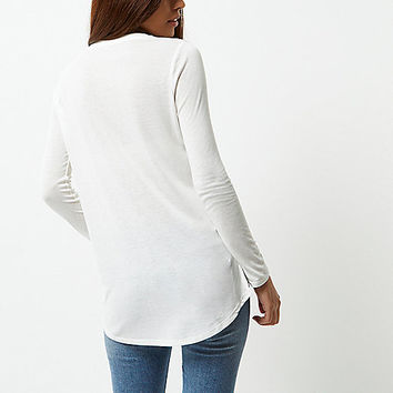 White soft long sleeve T-shirt - plain t-shirts / tanks - t shirts / tanks - tops - women
