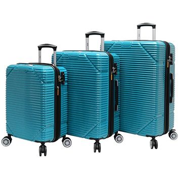 Lucas Luggage 3 Piece Hard Case Rolling Suitcase Set With Spinner Wheels