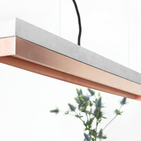 Pendant light concrete [C1]copper minimalist rectangular rare designer lamp