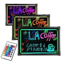 "LED Menu Board 28"" x 20"" Message Sign Display Dry Erase Fluorescent Neon Writing"