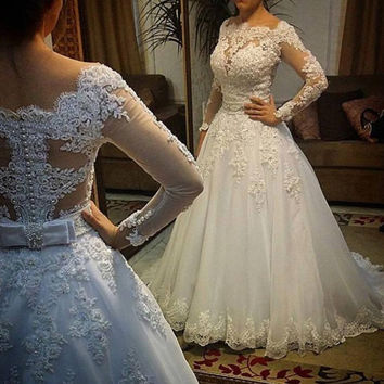 Vestido de noiva Long Sleeves Wedding Dresses Sexy Back Bride Dresses Wedding Gowns Princess Casamento Robe de Mariage Trouwjurk